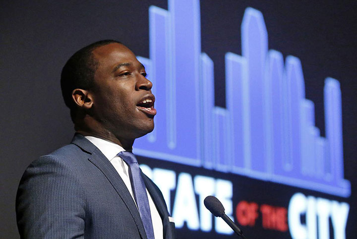 Mayor Levar Stoney gave his State of the City speech at the Virginia Museum of History and Culture on Thursday.  ALEXA WELCH EDLUND/TIMES-DISPATCH